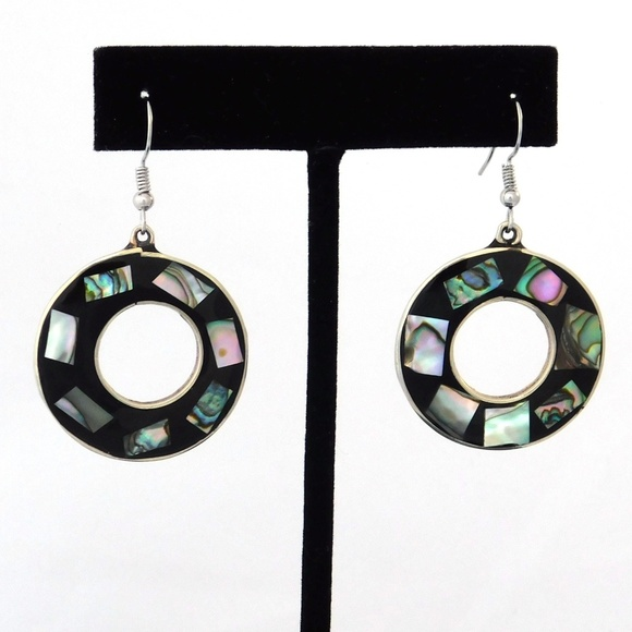 a41b19016 Vintage Jewelry | Retro Mexican Drop Dangle Earrings Abalone I09 ...